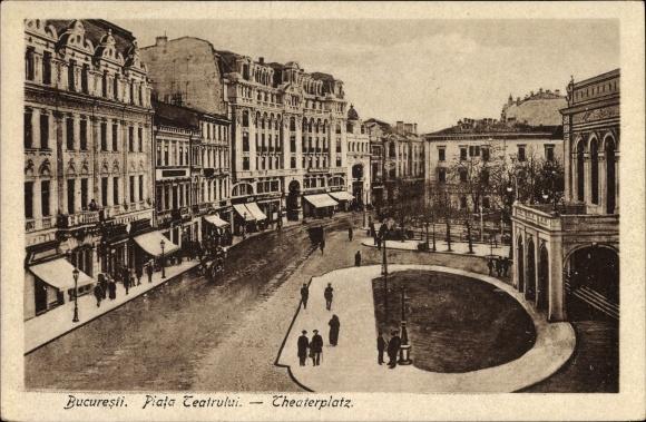 Ak București Bukarest Rumänien, Piata Teatrului, Theaterplatz