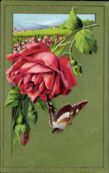 Präge Litho Ansicht einer Roten Rose mit Schmetterling