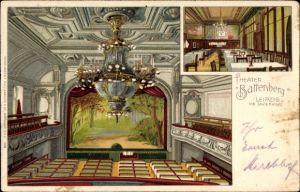 Litho Leipzig in Sachsen, Theater Battenberg, Inh. Louis Kaiser, Innenansicht, Bühne