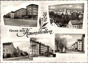 Ak Haunstetten Augsburg in Schwaben, Neue Straße, Inningerstr., Hofackerstr., Blick von St. Georg