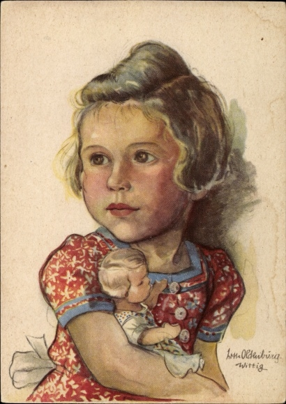 Künstler Ak Oldenburg Wittig, Lotte, Kleines Mädchen mit einer Puppe im Arm