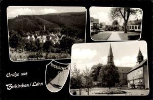 Wappen Ak Biskirchen Leun Lahn, Blick von Pension Weber, Kirche, Kreuz