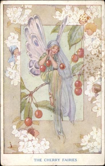 Künstler Ak Tarrant, Margaret W., The Cerry Fairies, Fee auf einem Kirschbaum sitzend