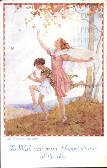 Künstler Ak Tarrant, Margaret W., An Autumn Melody, Magic of Childhood Series, Flötenspieler