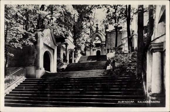 Ak Wambierzyce Albendorf Schlesien, Partie auf dem Kalvarienberg, Treppe