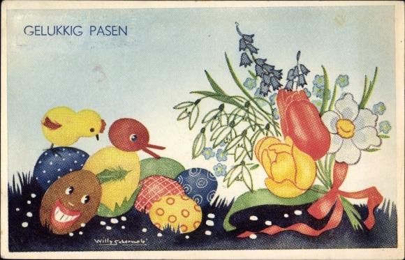 Künstler Ak Schermelé, Willy, Glückwunsch Ostern, Gelukkig Pasen, Ostereier, Küken, Blumen, Ente