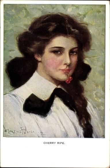 Künstler Ak Cherry Ripe, Portrait einer jungen Frau mit Kirschen im Mund, Munk 832