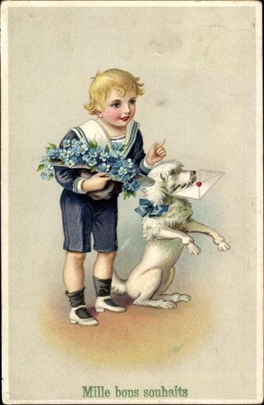 Präge Litho Glückwunsch, Mille bons souhaits, Junge, Matrosenanzug, Hund mit Brief, Vergissmeinnicht