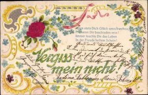 Präge Stoff Litho Vergiss mein nicht, Rosenblüte, Vergissmeinnicht, Blumen