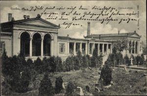 Ak Gotha im Thüringer Becken, Partie am Krematorium, Friedhof