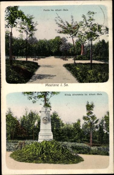 Ak Meerane in Sachsen, Partie im Alberthain, König Albertstein, Denkmal