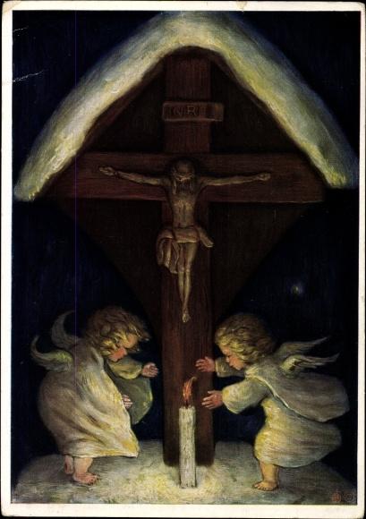 Künstler Ak Spötl, Maria, Geweihte Weihnacht, Engel mit Kerze unter einem Kreuz