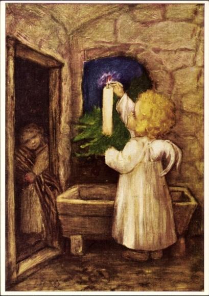 Künstler Ak Spötl, Maria, Vorbereitungen, Engel mit Kerze richten die Krippe her