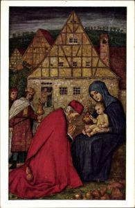 Künstler Ak Schiestl, Matthäus, Die Heiligen Drei Könige besuchen das Jesuskind