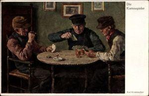 Künstler Ak Krummacher, Karl, Die Kartenspieler, Männer spielen Karten