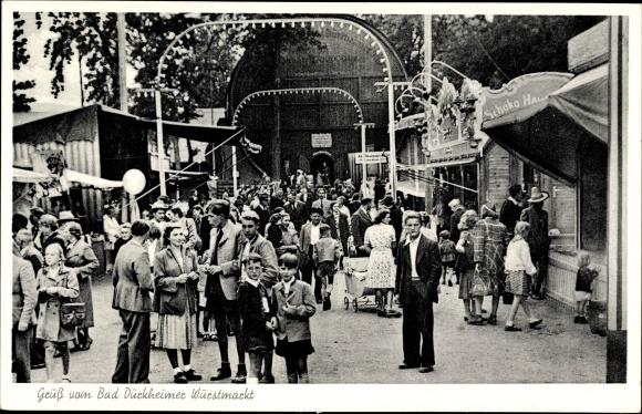 Ak Bad Dürkheim am Pfälzerwald, Wurstmarkt, Riesenfass, Besucher