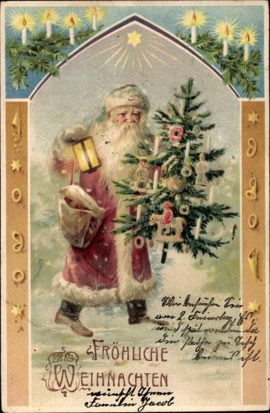 ak frohe weihnachten weihnachtsmann standportrait mit. Black Bedroom Furniture Sets. Home Design Ideas