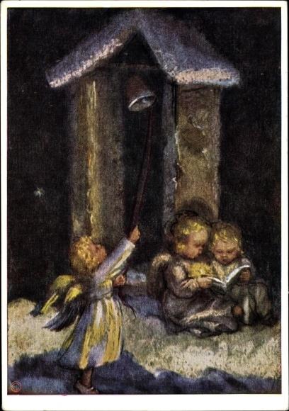 Künstler Ak Spötl, Maria, Engel lesen bei Kerzenlicht, Glocke