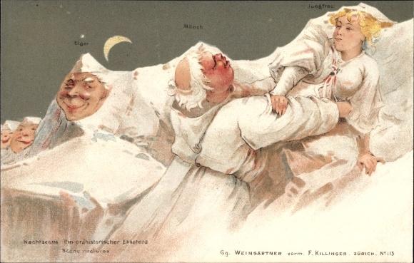 Litho Nachtszene, Prähistorischer Ekkehard, Berggesichter, F. Killinger Nr 113