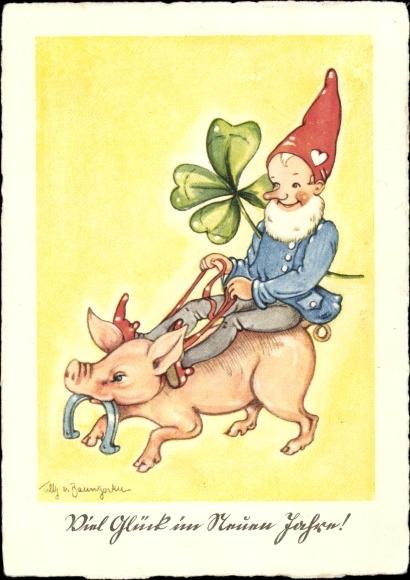 Künstler Ak Baumgarten, Tilly von, Glückwunsch Neujahr, Zwerg auf einem Schwein, Kleeblatt, Hufeisen