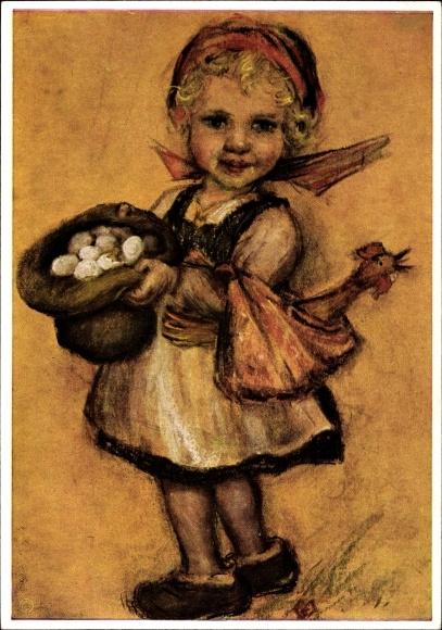 Künstler Ak Spötl, Maria, Ich gehe in die Stadt, Mädchen mit Eiern
