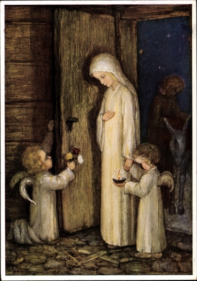 Künstler Ak Spötl, Maria, Trag Gott zu uns, zwei Engel, Maria, Josef, Esel