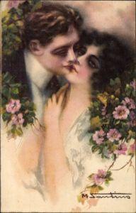 Künstler Ak Santino, M., Liebespaar, Kuss, Blumen