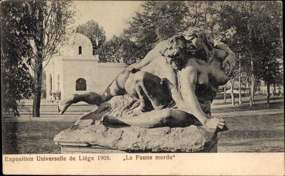 Ak Liège Lüttich Wallonien, Expo 1905, Le Faune mordu, Lambeaux