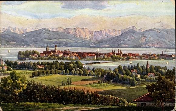 Künstler Ak Marschall, Lindau im Bodensee Schwaben, Blick auf den Ort, Alpenpanorama