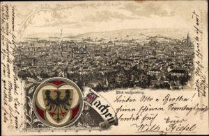 Wappen Litho Aachen in Nordrhein Westfalen, Blick vom Lousberg, Panorama vom Ort