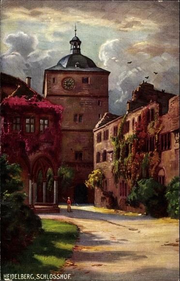 Künstler Ak Heidelberg am Neckar, Blick in den Hof des Schlosses