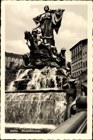 Ak Szczecin Stettin Pommern, Blick auf den Manzelbrunnen, Ludwig Manzel