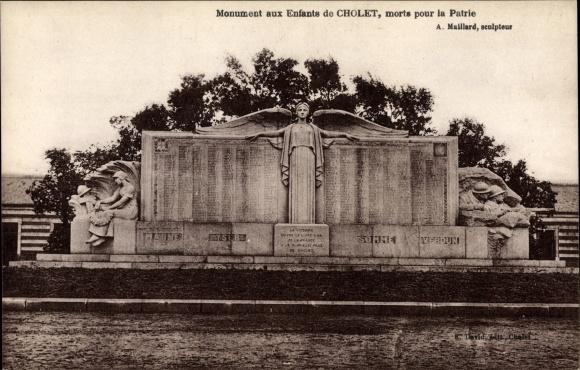 Ak Cholet Maine et Loire, Monument aus Enfants morts pour la Patrie, Auguste Maillard