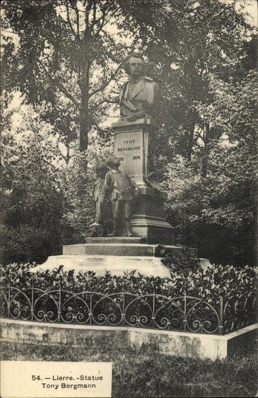 Ak Lierre Flandern Antwerpen, Statue Tony Bergmann, Frans Joris