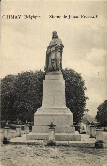 Ak Chimay Wallonien Hennegau, statue de Jehan Froissart, Jean Joseph Jacquet