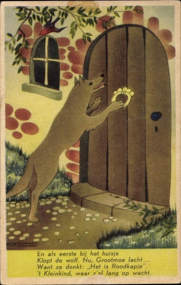 Künstler Ak Schermelé, Willy, Rotkäppchen und der böse Wolf