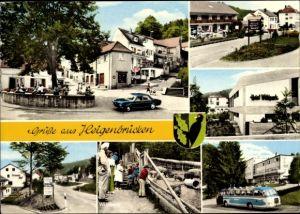 Wappen Ak Heigenbrücken in Bayern, Ortspartie, Bus, Wildpark, Hotel Wildpark