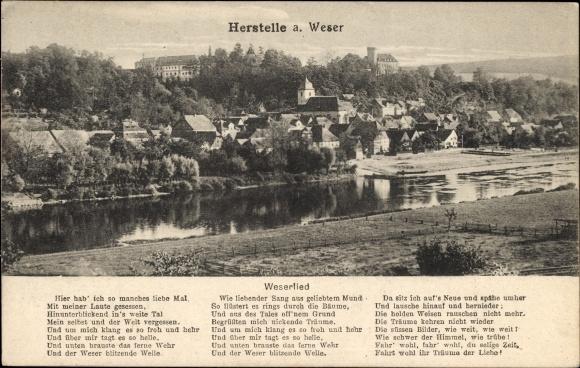 Lied Ak Herstelle Beverungen in Nordrhein Westfalen, Panorama vom Ort, Weserlied