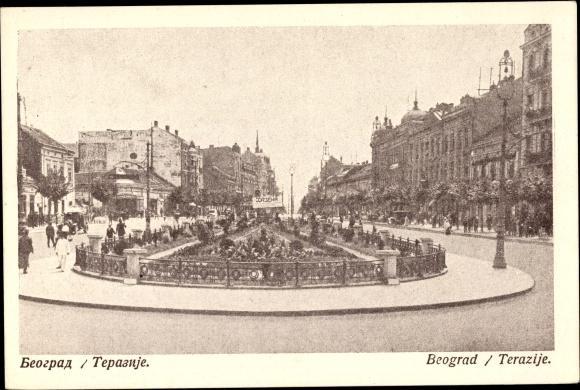 Ak Belgrad Beograd Serbien, Terazije, Straßenpartie