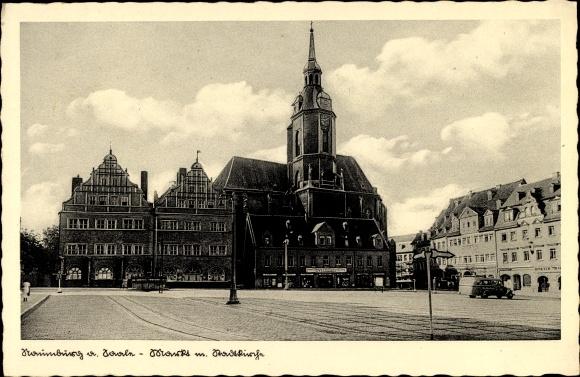 Ak Naumburg an der Saale, Partie am Markt mit Stadtkirche