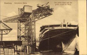 Ak Hamburg Mitte Steinwerder, Partie am Kuhwärder Hafen, größter Kran und größtes Schiff der Welt