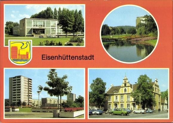 Wappen Ak Stalinstadt Eisenhüttenstadt in Brandenburg, Marx Engels Platz, Pionierhaus, Diehloer Str.
