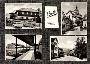 Ak Boll in Baden Württemberg, Volksschule, Kirche, Hauptstraße, Schule f. k. Therapie, Gasthaus Post