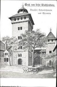 Ak Holzhausen Amt Wachsenburg, Veste Wachsenburg, Burghof, Hohenloheturm mit Thörnlein
