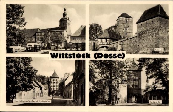 Ak Wittstock Dosse in der Ostprignitz, Marktplatz, Ernst Thälmann Straße, Gröper Tor, Amtshof, Bus