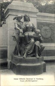 Ak Hamburg Mitte Altstadt, Blick auf das Kaiser Wilhelm Denkmal, Gruppe Wohlfahrtsgesetze