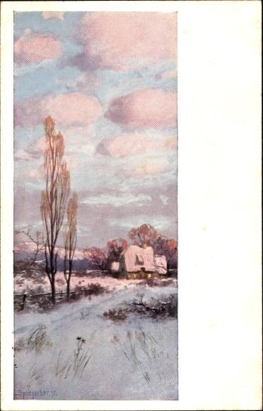 Künstler Ak Splitgerber, Winteridyll, Haus auf einem Feld, Schnee