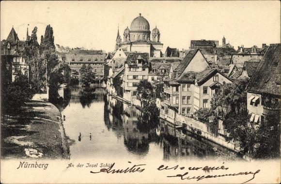 Ak Nürnberg in Mittelfranken Bayern, Partie an der Insel Schütt, Synagoge