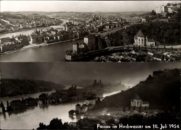 Ak Passau in Niederbayern, Blick auf Stadt, Hochwasser am 10. Juli 1954