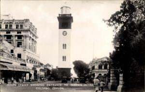 Ak Colombo Ceylon Sri Lanka, Queen Street showing entrance to Queen's House, Leuchtturm